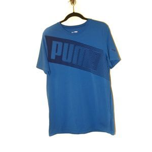 Puma Men's Short Sleeve Logo Spell Out Tee Blue